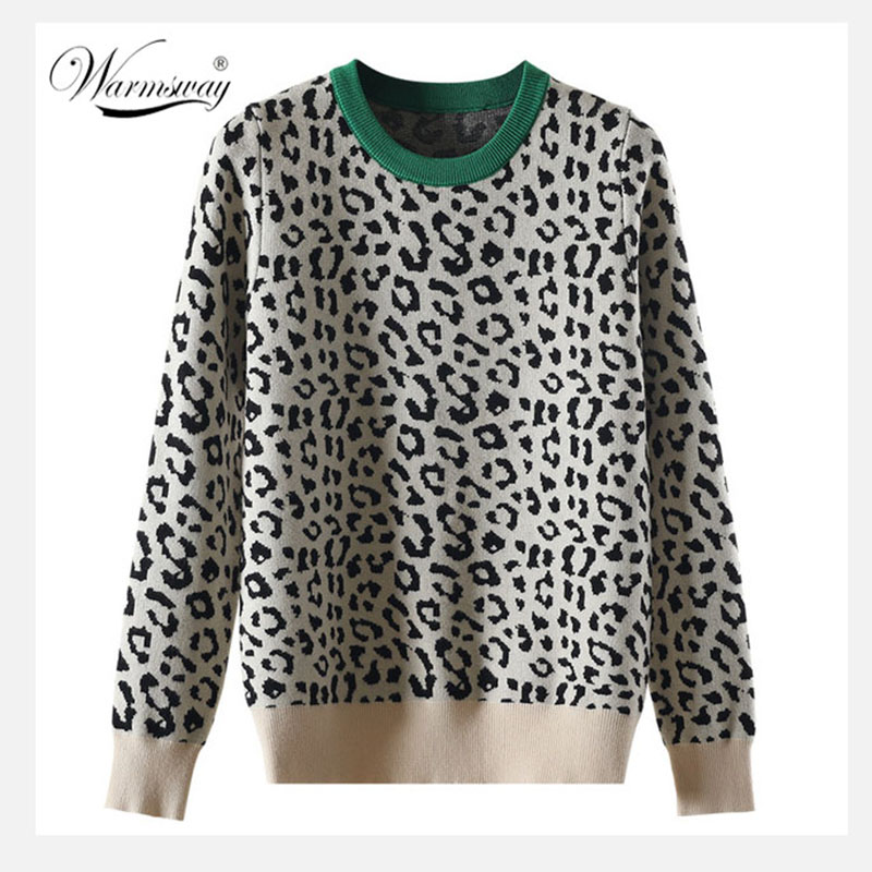 Autumn Winter Women Sweaters Leopard Knitted Pullovers Long Sleeve Contrast Color Crewneck Jumpers Sweter Mujer C-429