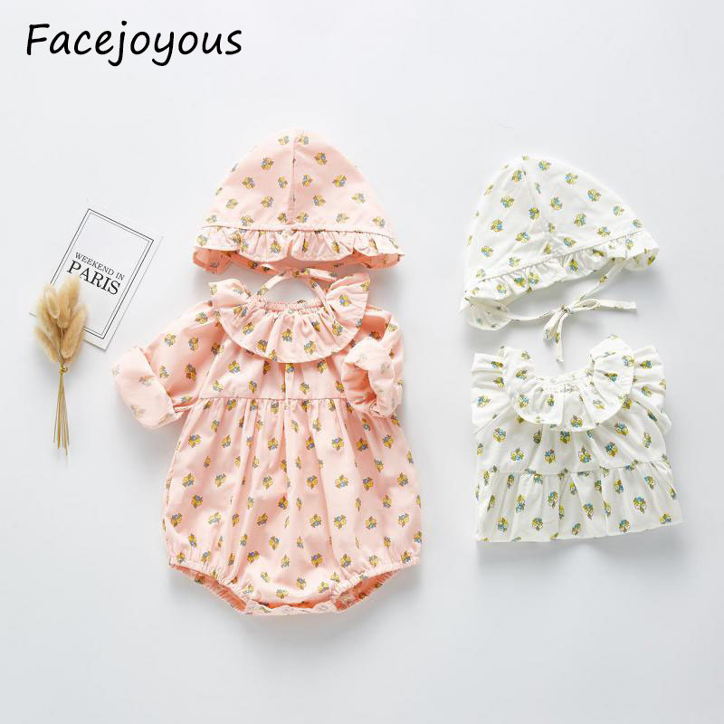 2020 Spring New Baby Bodysuit Baby Girl Flower Bodysuit With Hat Infant Jumpsuit Little Girls Clothing Suit