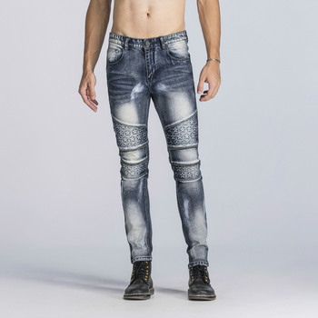 2020 Mens Skinny Jeans Slim Fit Blue Jeans Big and Tall Stretch Jeans for Men Distressed Embossed Biker Jeans Pants Plus Size фото