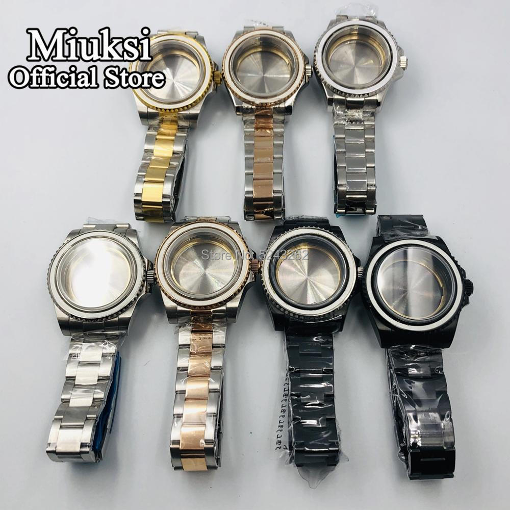 Miuksi 40mm Sapphire Glass Silver/gold/black Solid Stainless Steel Watch Case For ETA 2836,DG2813/3804 Miyota 82 Series Movement