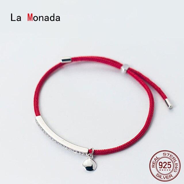 La Monada אדום לידי 925 סטרלינג כסף צמיד אדום חוט מחרוזת חבל צמידים לנשים כסף 925 סטרלינג