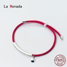 أساور من La Monada باللون الأحمر لليد مصنوعة من الفضة الإسترليني عيار 925 أساور بحزام من الخيوط الحمراء للنساء مصنوعة من الفضة الإسترليني عيار 925