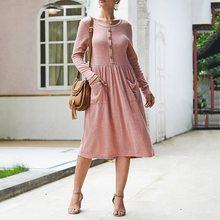 Bohoartist Vantage Knit Women Button Pocket Mid Dress Pink Casual Elegant Retro Boho Warm Long Sleeve 2019 Autumn Winter