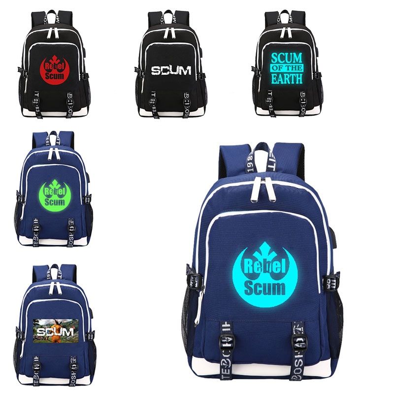 HOT Game SCUM canvas backpack luminous at night Fashion student schoolbag USB charging Laptopbag leisure travelbag in Backpacks from Luggage Bags