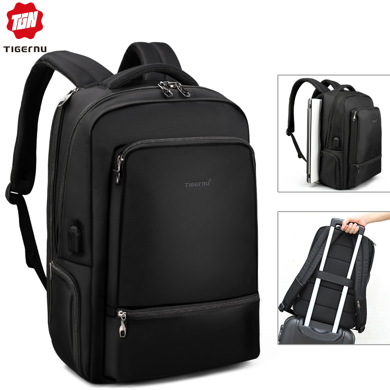 Tigernu Water Repellent Nylon Anti Theft 22L Men 15.6 Inch Laptop Backpack Bag USB Charging Travel Male Mochila Solid Schoolbags