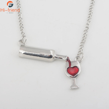 Fashion Jewelry Lovers Red Heart Wine Bottle Necklaces High Quality Silver Alloy Wineglass Best Gifts for Her Choker Bijoux