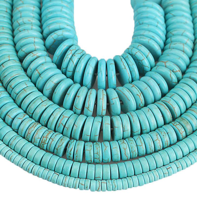 Stein Perlen Blau Türkisen Verkrustete Runde Spacer Perlen 4 6 8 10 12 14 16mm DIY Handgemachte Rondelle Perlen Für schmuck Machen Zubehör