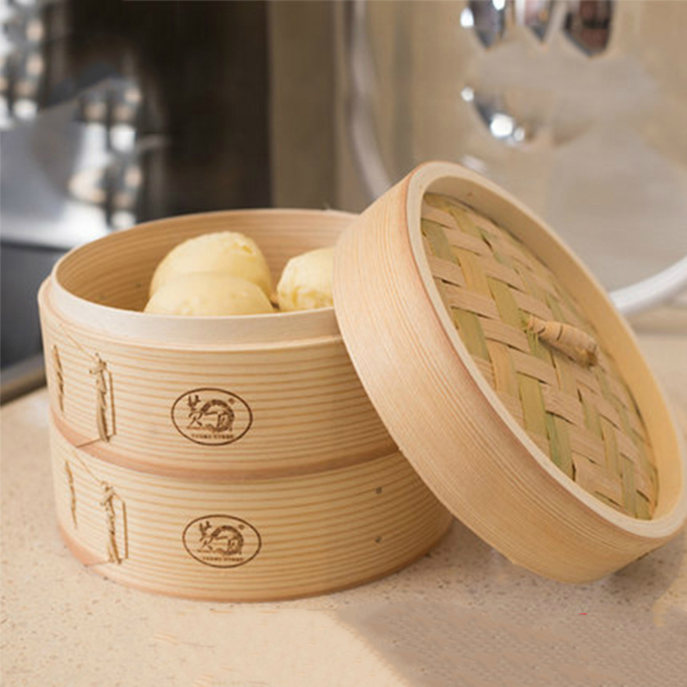 Bamboo Steamer Dim Sum Dishes Fish Instant Pot Steamer Basket Wooden Steamed Buns Chinese Cooking Steamer Rack Steaming Cookware
