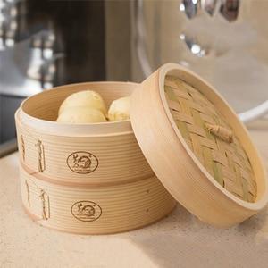 Vaporera de bambú Dim Sum platos pescado instantáneo olla al vapor cesta de madera al vapor bollos chinos máquina para cocinar a vapor Rack utensilio para cocinar al vapor