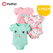 Rompers Baby Bodysuits-Set Patpat Clothing Summer Cat Floral And Spring 3-Pack Casual