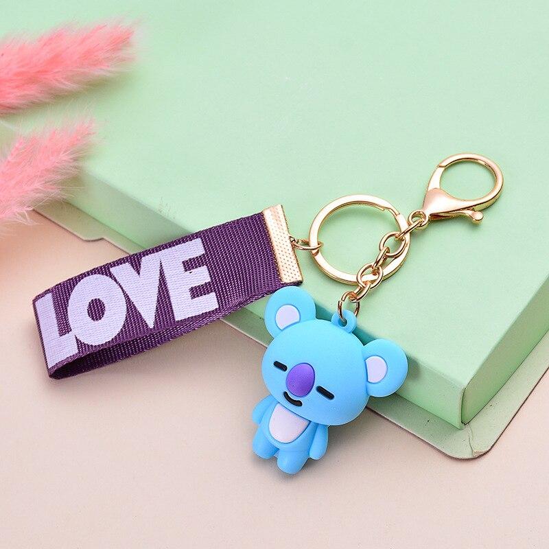 Korean-style BTS Doll Key Cap Men's WOMEN'S Cartoon Epoxy Webbing-Bag Key Chain Pendant