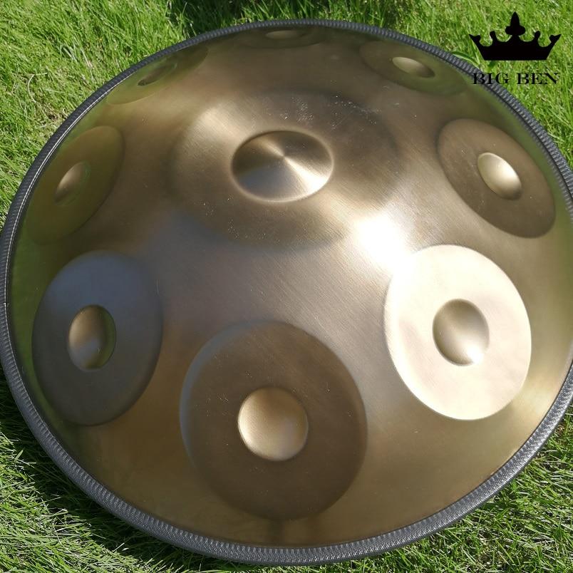 9 tonos dorados 10 tonos Kurd Natural D pequeño manillar tambor de acero nitruro óxido colgante tambor percusión bolsa Accesorios handpan