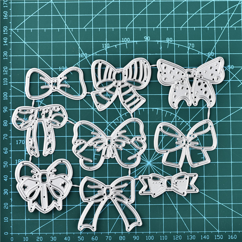 Eastshape 9PCS Lace Bow Dies Bow Rectangle Frame Metal Cutting Die For DIY Scrapbooking Paper Cards Die Cuts Photo Album Making