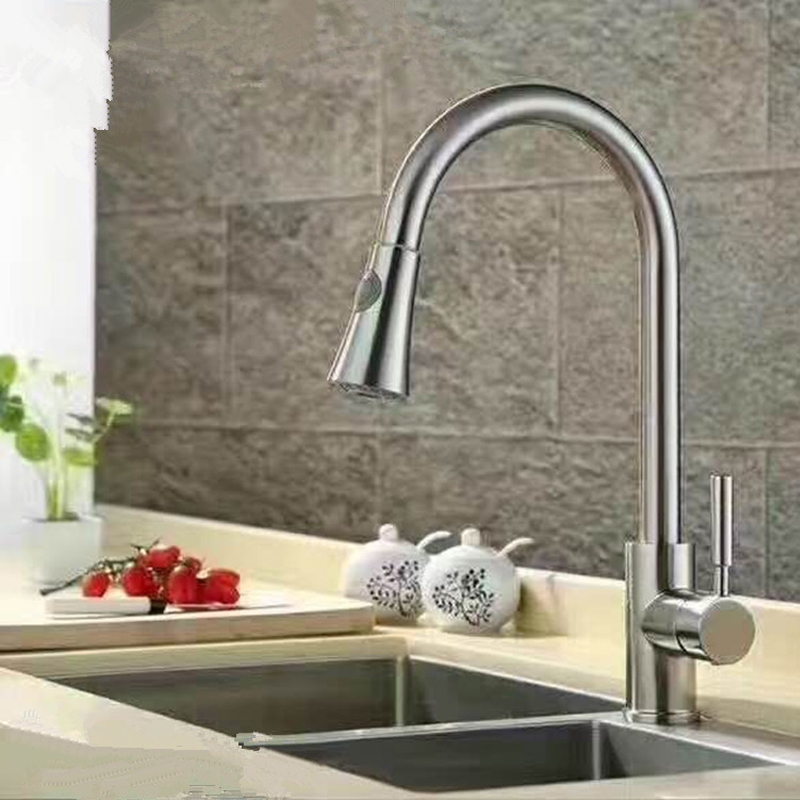 Dofaso Kitchen Taps Pull Out Chrome Mixer Tap Swivel Spout Sink Faucet Stainless Kitchen Faucets Pull Down Tap