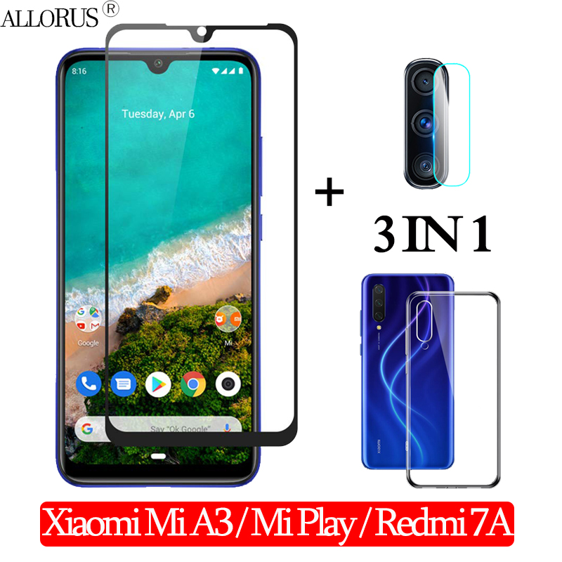 3-in-1 Case + Camera Tempered Glass For Xiaomi Mi A3 Mi Play Screen Protector Redmi 7-A Full Cover Glass Xiaomi Mi A3 3D Glass