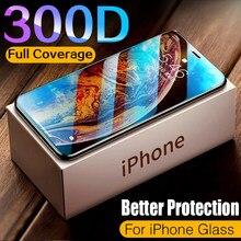 300d capa completa vidro temperado para o iphone 11 12 pro max protetor de tela de vidro protetor de proteção para o iphone 11 12 x xr xs max vidro