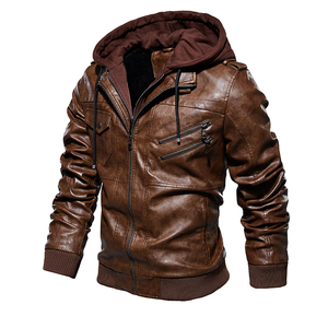 Image 2 - Männer Pu Jacke Winter Leder Mit Kapuze Biker Mantel Männer 2019 Streetwear Fleece Zipper Jacke mit Abnehmbaren Hut Casual Mäntel