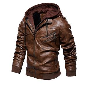 Image 2 - Mens Pu Jacket Winter Leather Hooded Biker Coat Men 2019 Streetwear Fleece Zipper Jacket with Detachable Hat Casual Overcoats