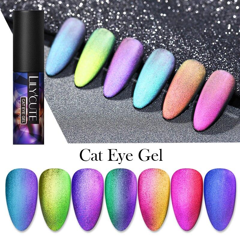 LILYCUTE 9D Auroras ongles chat oeil Gel vernis à ongles magnétique Gel ciel étoilé imbiber UV Gel magnétique Nail Art Gel vernis à ongles 5ml
