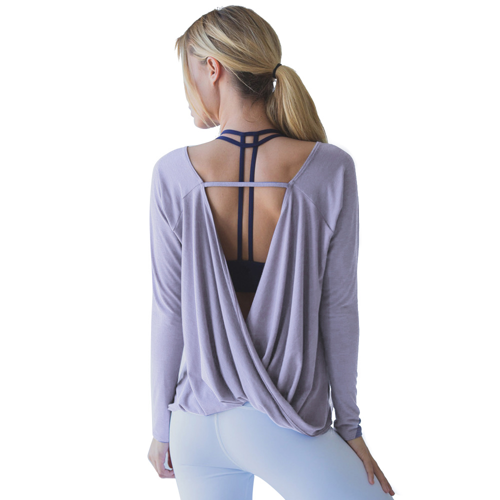 Yoga Shirts Sport Woman Fitness Blouses Backless Modal Solid Dry Fit Gym Femme Workout Top Long Sleeve Casual Shirt Plus Size
