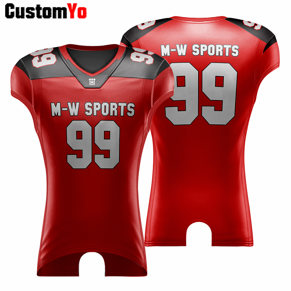 M-W sports Customized Sublimation American Football Jersey Top Quality Club Training Adult Size Football Shirts Jersey image