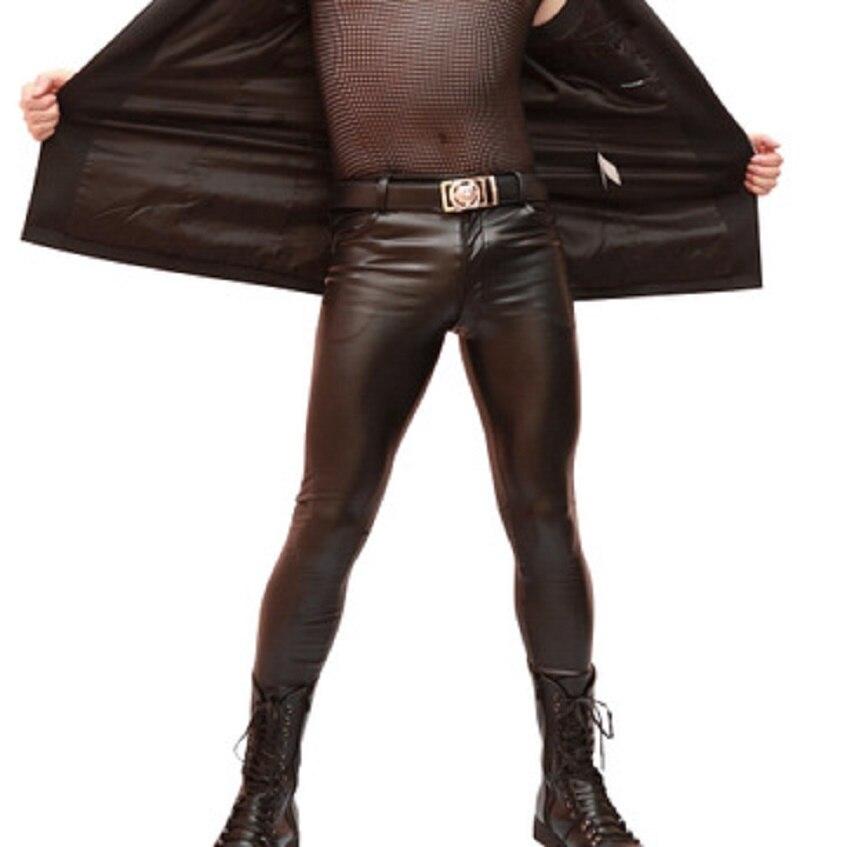 Teenage Stylish Latex Men Trousers Faux Leather PU Leggings Straight Tube Slim Tight Size Leg Skinny Casual Pencil Boot Pants
