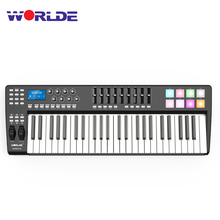 WORLDE PANDA49 Portable 49 Key USB MIDI Keyboard Controller 8 RGB Colorful Backlit Trigger Pads with USB Cable MIDI keyboard