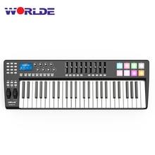 Wereldje PANDA49 Draagbare 49 Key Usb Midi Keyboard Controller 8 Rgb Kleurrijke Backlit Trigger Pads Met Usb Kabel Midi toetsenbord