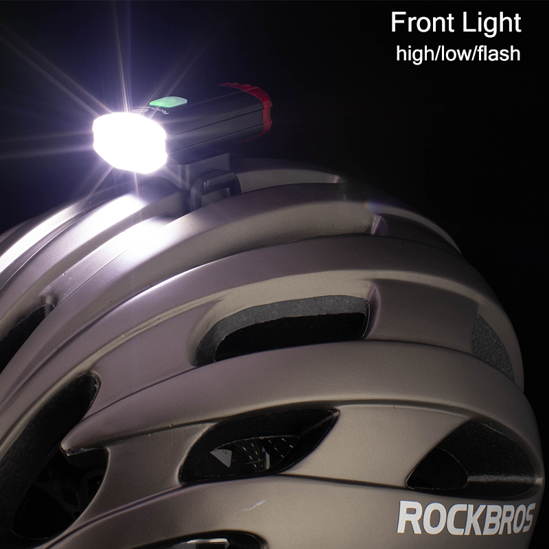 ROCKBROS Cycling Bike Light Duplex Integrates Both Headlight And Safety Light USB Rechargeable MTB Helmet Front Handlebar Light