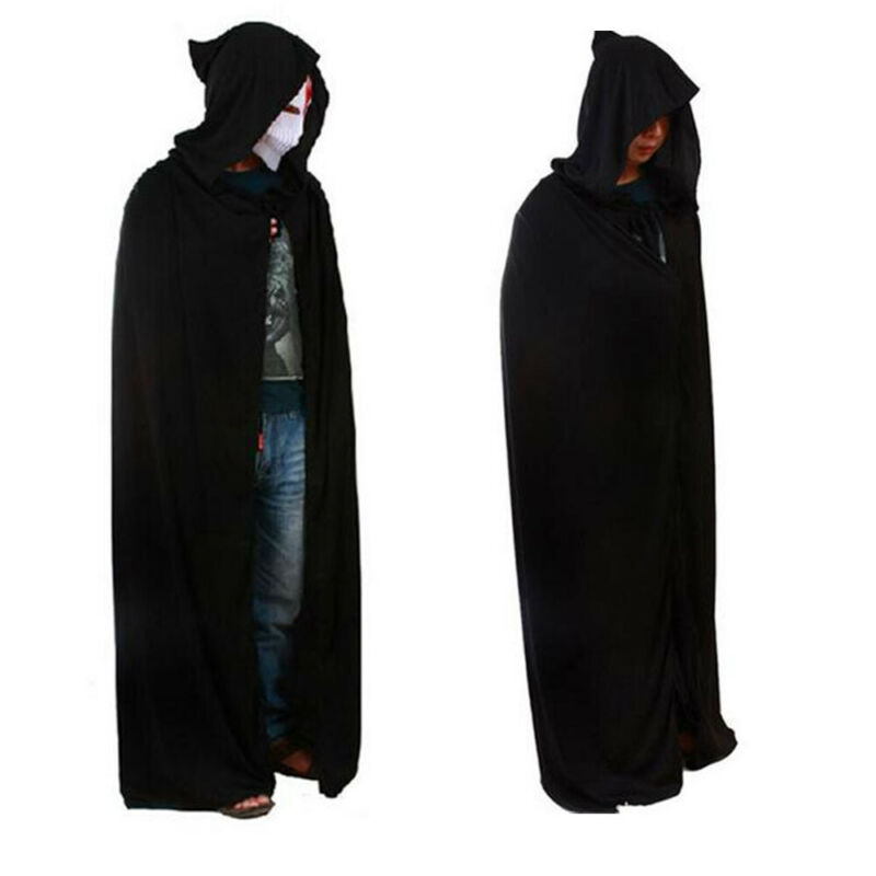 Hat Set Witch Halloween Scary Fancy Dress Long Crushed Velvet Cape