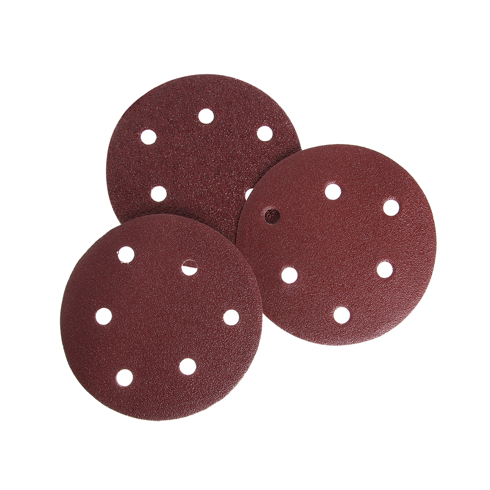 Free ShipùDisc-Sand-Belt Grinding-Machine Sandpaper Red 50pcs 125mm 6-Hole Brushed-Piece Hole-Flocking