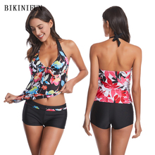 2020 New Sexy Floral Print Tankini Women Front Bow Knot Swimsuit S-2XL Girl Backless Halter Bathing Suit Flat Bottom Bikini Set