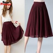 שלג PINNACLE נשים שיפון חצאית קיץ דק מוצק קפלים חצאיות נשים Saias Midi Faldas Vintage נשים Midi חצאית