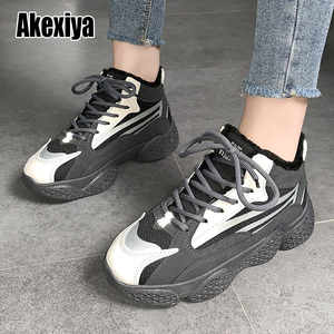 2020 Winter Women Sneakers Fur Shoes Woman black Warm Ankle Snow Boots Lady Platform Casual Shoes Size 40 w094