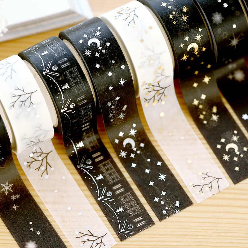 1 Uds. Cinta adhesiva Washi de Navidad de oro plata Luna estrellas 15mm * 5m álbum de recortes DIY Oficina personalizada cinta adhesiva