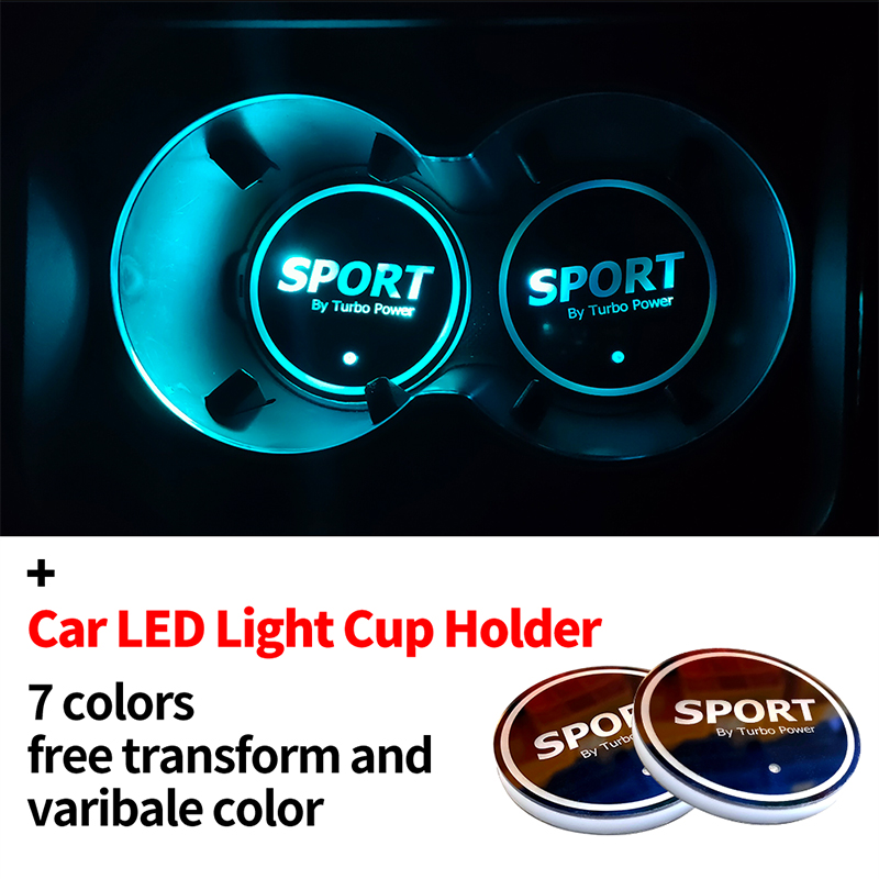 2pcs/set <font><b>USB</b></font> Colorful Atmosphere Lights Lamp Drink Holder <font><b>Car</b></font> <font><b>Logo</b></font> <font><b>LED</b></font> Colorful Water Cup Mat Lights Seat Trim Accessories image