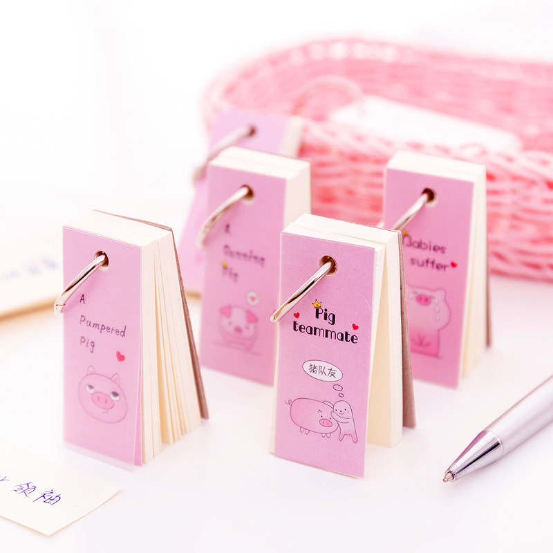 1PC Creative Kawaii Cartoon Pink Pig Loose-Leaf Memo Pad Notes Student Notepad Office School Stationery Supplies 02196