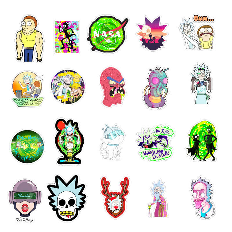 50PCS Cartoon Rick  Stickers DIY Travel Skateboard Suitcase Guitar Luggage Laptop Waterproof Cool Sticker Decal Kid Toy 5