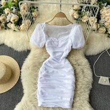 Short Dresses Puff-Sleeve Square-Collar Fashion Korean Summer Casual Women Solid Slim