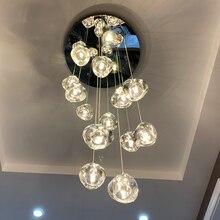 Lámpara de techo para sala de estar, cocina, larga escalera, iluminación, centro comercial, Villa, lámpara de Hotel, Loft, bolas de cristal, arañas LED