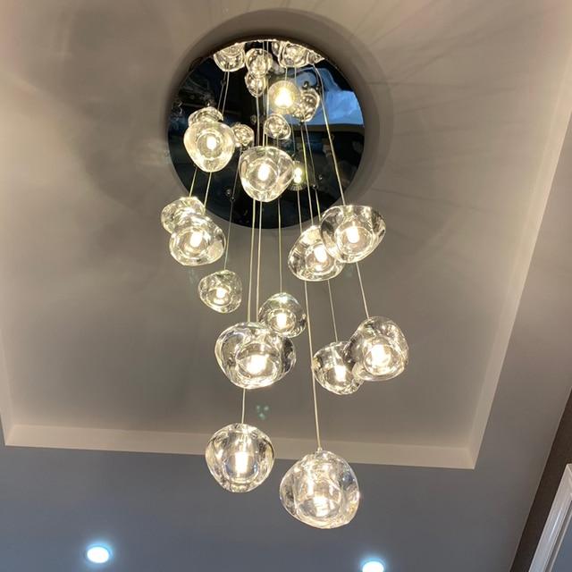 天井のシャンデリアキッチンロング階段照明モールヴィラホテルランプロフトクリスタルボールledシャンデリア