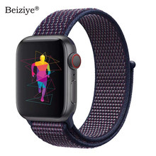 Correa deportiva de lazo de nailon para Apple Watch Band 4 40mm 44mm Nylon suave tejida pulsera para iWatch band 38mm 42mm series 5 3 2 1(China)