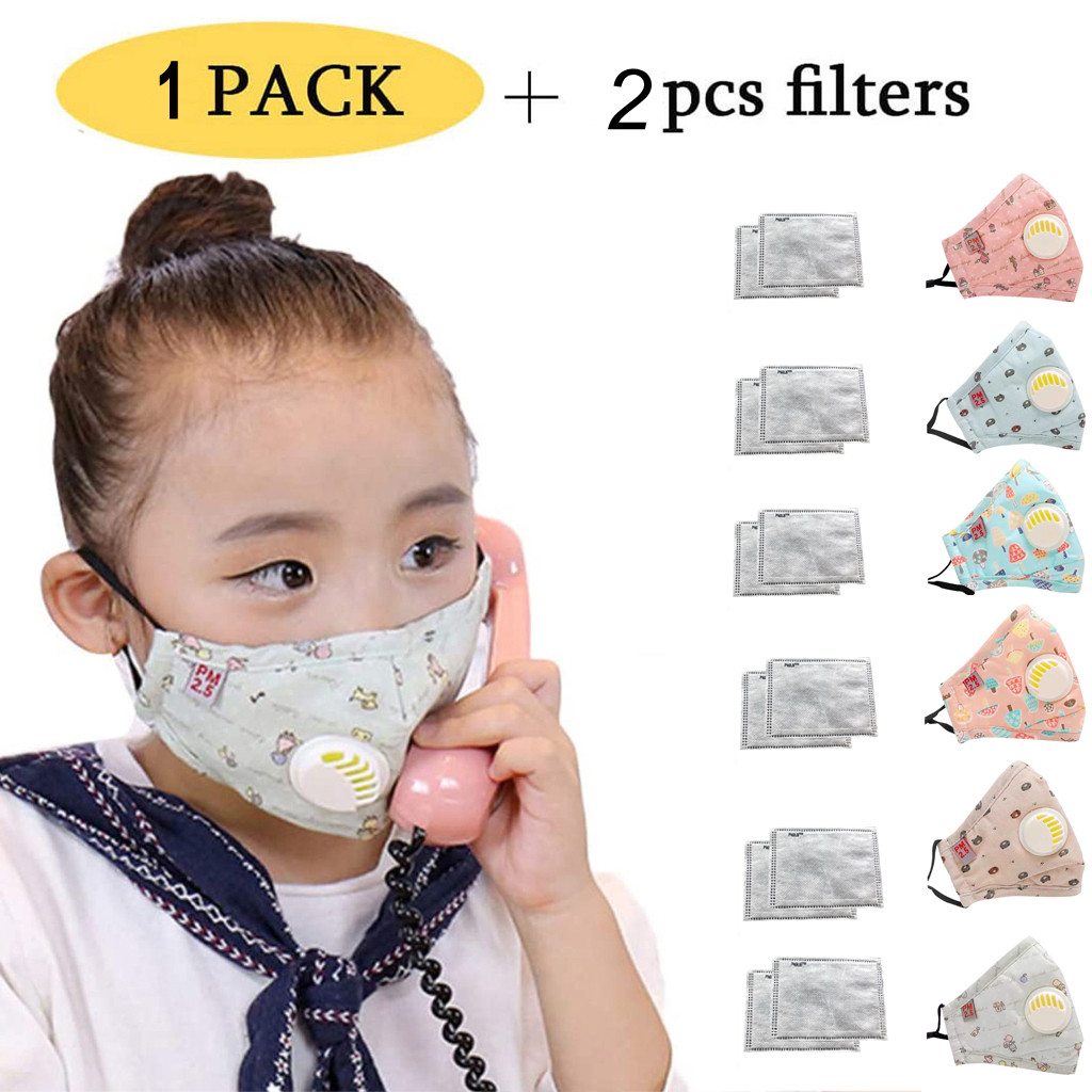#H30 2-6 years Reusable Children Mask With 2 Filters Breath Valve Mouth Face Mask kids 2020 In Stock Washable Mask Dust-proof
