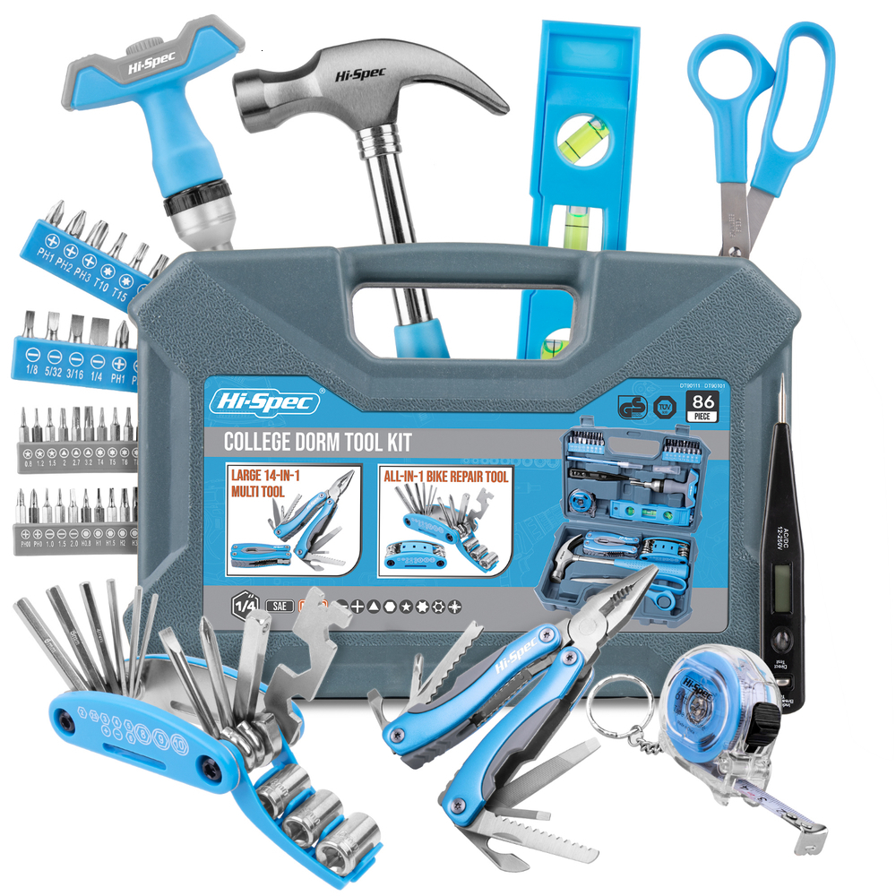 Hi-Spec 86 Piece College Dorm Household Tool Kit DIY Hand Tool Set Toy Gift Tools In Plastic Carrying Case