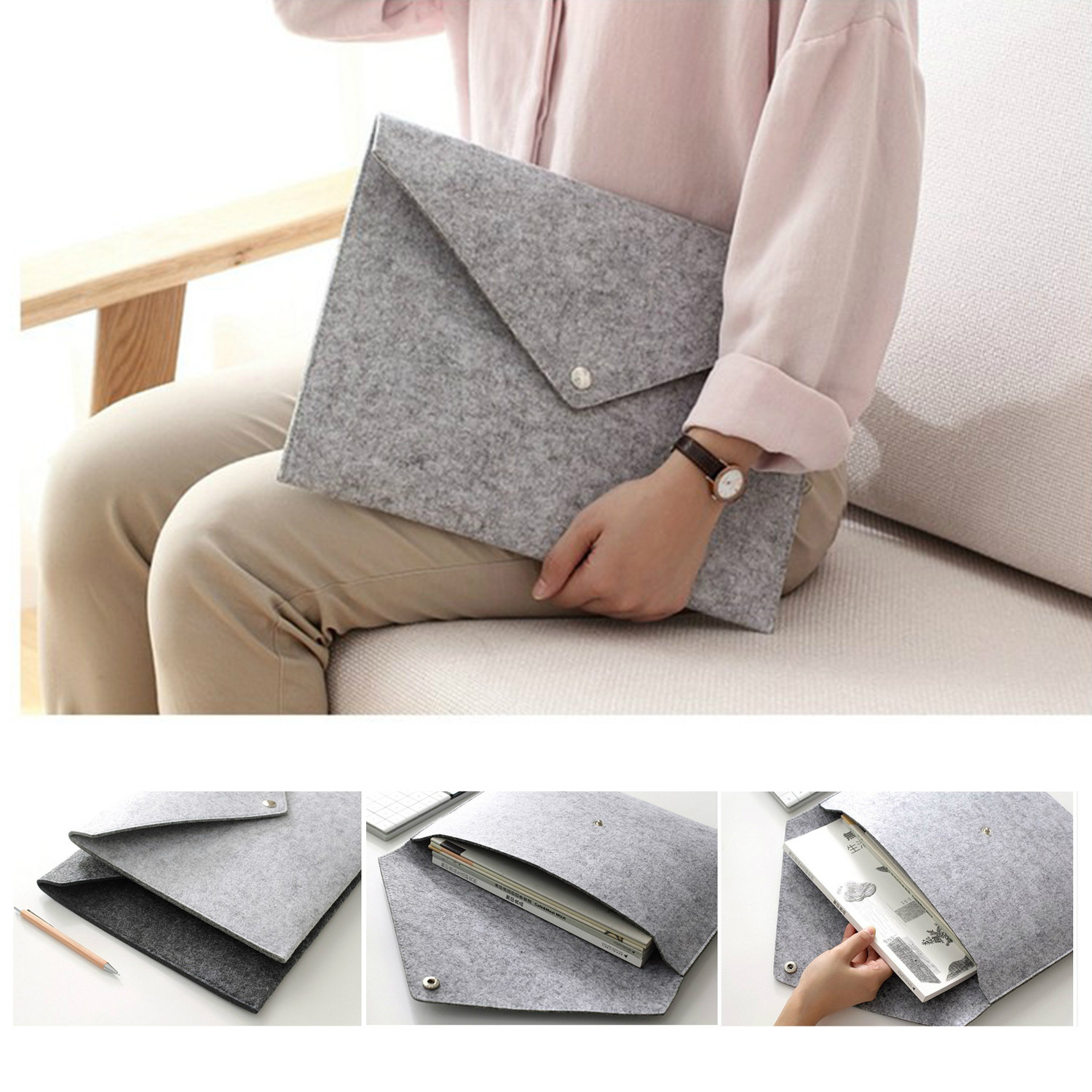 2pcs/lot Simple Solid A4 Big Capacity Document Bag Business Briefcase   File Folders Chemical Felt Filing Products Student Gifts