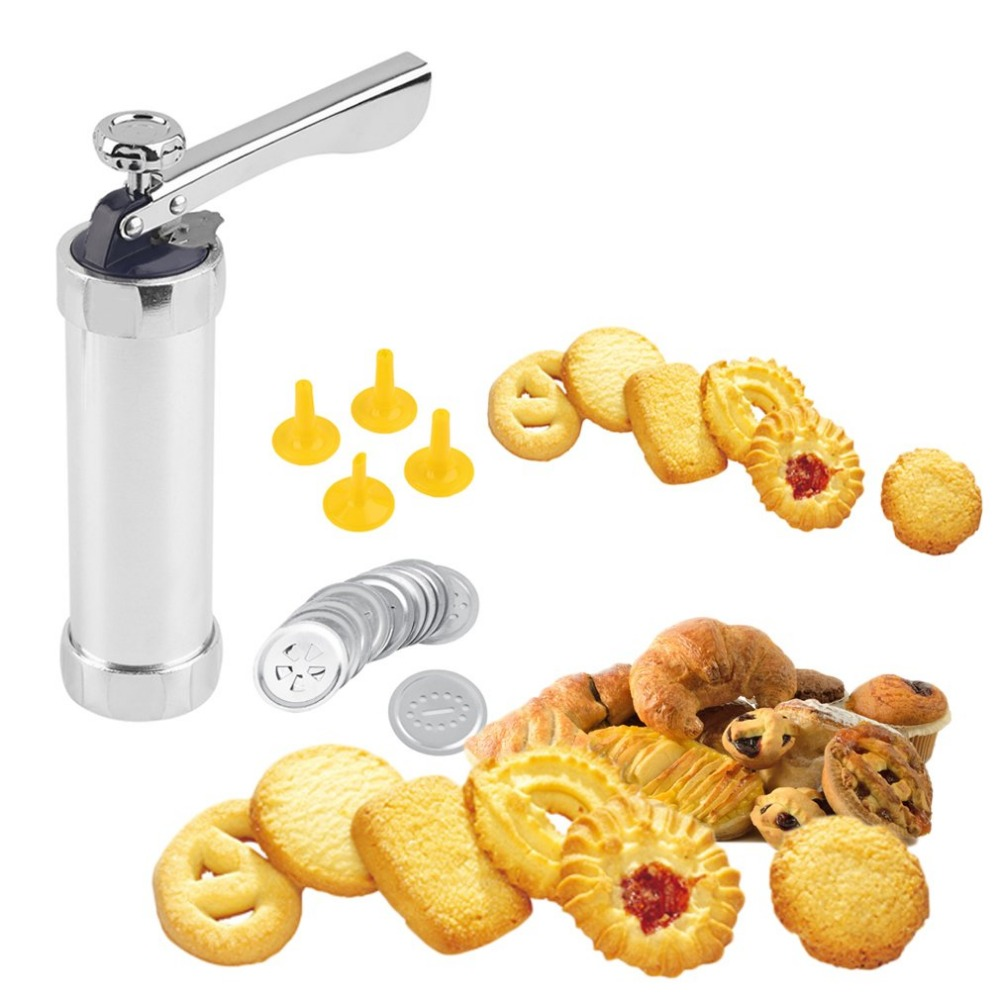 Cookie extruder Press Machine Biscuit Maker Manual Cake Making Decorating Set Baking Tools with 4 Nozzles 20 Cookie Mold|Waffle Makers| |  -