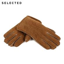 SELECTED Mens Pure Color Woolen Leather Gloves  A