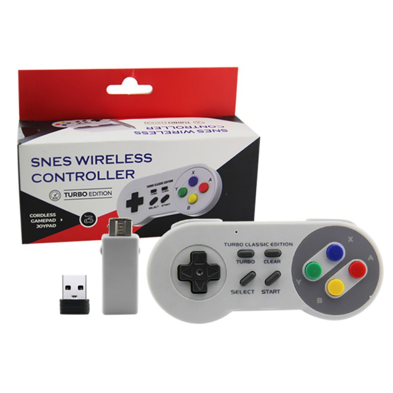 Mini SNES 2.4G wireless controller SNES Classic Super host 2.4G mini game handle Supportting NES/SNES/Wii with Bluetooth adapter image