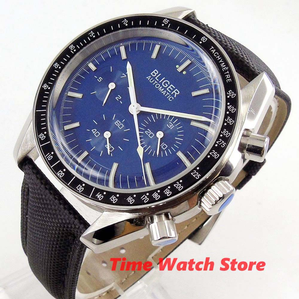 40mm Bliger Watch men mechanical waterproof luminous blue dial ceramic bezel Multifunction date week leather bracelet Auto B228