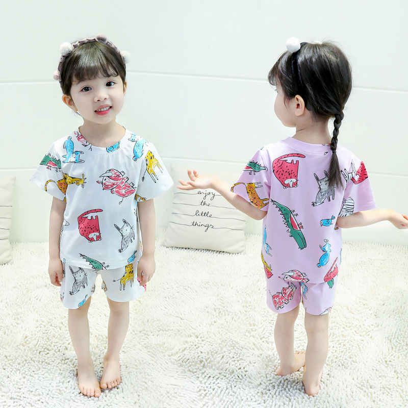 Phuoc Meow 2019 Summer New Style Men And Women Child Baby Pajamas Suit Children Cute Home Wear